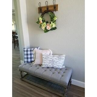 The Gray Barn Creston Grey Linen Tufted Bench