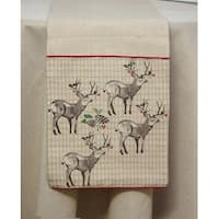 "Set of 2 Rustic Tan Reindeer and Holly Berry Christmas Table Runner 72"" - Brown"