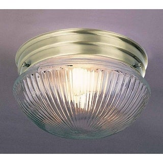 "Volume Lighting V7056 1 Light 7"" Flush Mount Ceiling Fixture with Clear Ribbed Glass Shade"