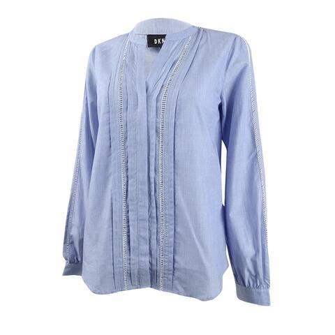 DKNY Women's Pleated Ladder-Trim Shirt - Oxford