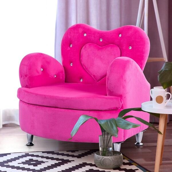 shop gymax rose kids sofa armrest chair couch soft velvet toddler children 39 s furniture free. Black Bedroom Furniture Sets. Home Design Ideas