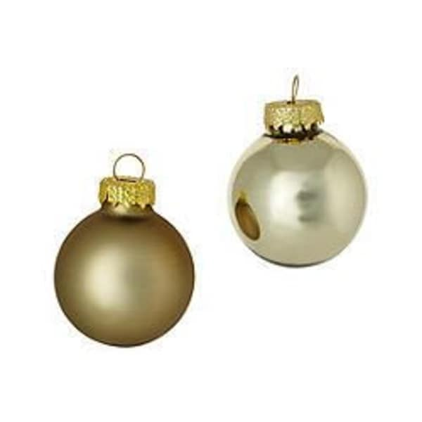 """40ct Gold Shiny and Matte Glass Ball Christmas Ornaments 1.5"""" (40mm)"""