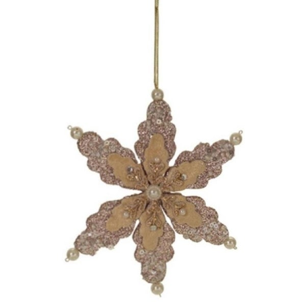 "6"" Rich Elegance Glittered Beige Snowflake with Pearls and Gems Christmas Ornament - brown"
