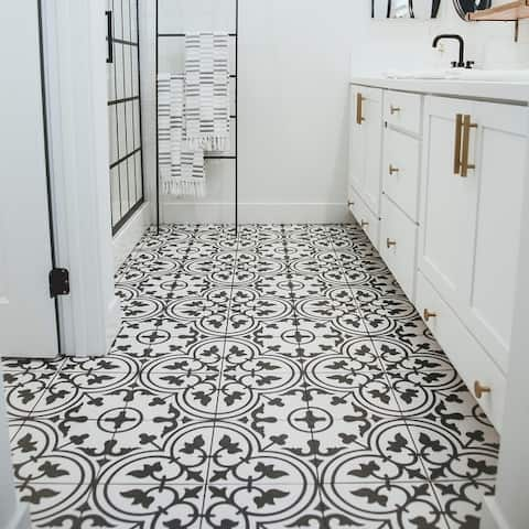 "SomerTile Arte White Encaustic 9.75"" x 9.75"" Porcelain Floor and Wall Tile"