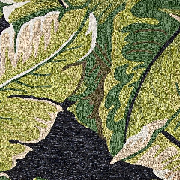 Miami Rainforest Black Green Indoor Outdoor Area Rug Overstock 10437657