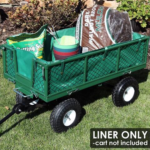 Sunnydaze Heavy-Duty Dumping Utility Cart Liner - Includes Liner Only - Green