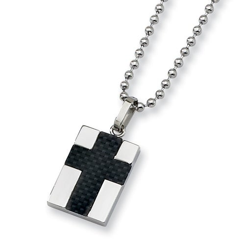 Chisel Stainless Steel Pendant with Black Carbon Fiber Cross on 22 Inch Bead Chain (2 mm) - 22 in