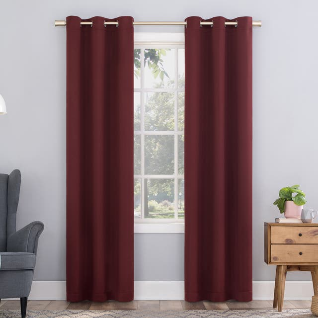 Sun Zero Hayden Energy Saving Blackout Grommet Curtain Panel, Single Panel - 40x84 - Wine Red