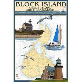 Block Island, RI - Nautical Chart - LP Artwork (Art Print - Multiple Sizes)
