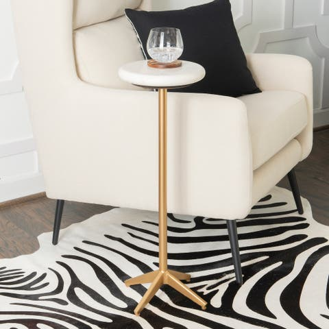 Emily White Marble Glam Drink End Table