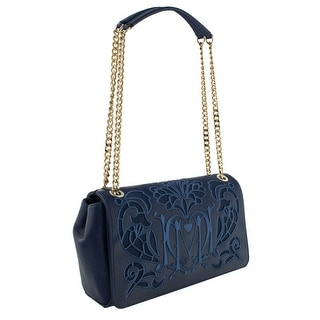 Moschino JC4103 0751 Navy Blue Embroidered Shoulder Bag