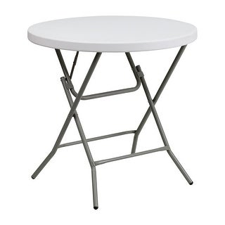 "Offex 32"" Round Granite White Plastic Folding Table [OF-DAD-YCZ-80R-GW-GG]"