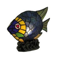 Green Tropical Fish Decorative Art Glass Accent Lamp