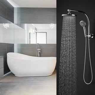 Gymax Modern Chrome Brass Rainfall Shower Wall Mount w/Hand Spray Combo Set Bathroom - Silver