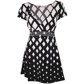 Funfash Plus Size Black White Diamond Empire Waist USA Blouse Shirt