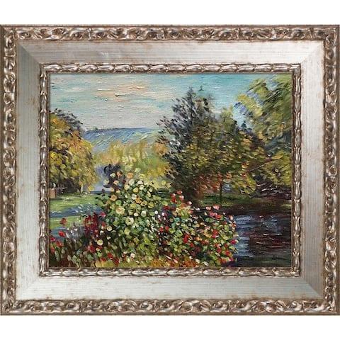"La Pastiche Corner of the Garden at Montgeron with Versailles Silver Salon Frame, 12"" x 14"""