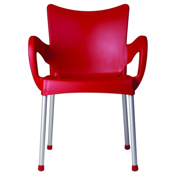 Romeo Stacking Dining Arm Chair [Set of 4] Finish: Red