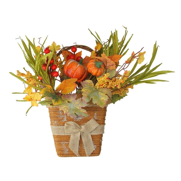 Fall leaves and Burlap Bow Artificial Wall Mounted Thanksgiving Basket - 18-Inch - N/A