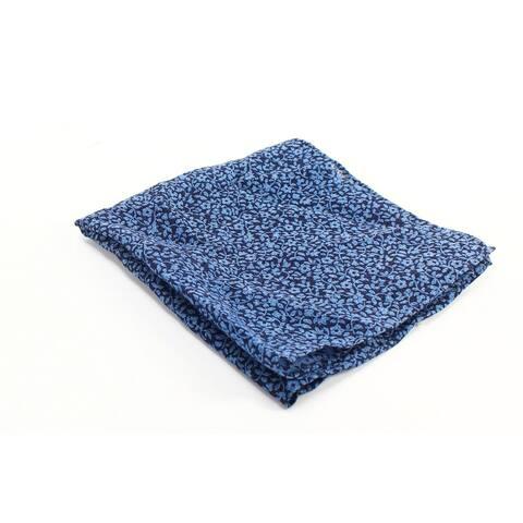 The Men's Store Men's Square Pocket Navy Blue One Size Floral Print Silk