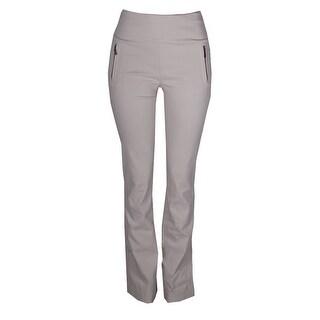 Inc International Concepts Beige High-Waist Zipper Detail Boot Cut Pants 10