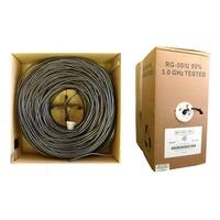 Offex Bulk RG59/U Coaxial Cable, Black, 20 AWG, Solid Core, Pullbox, 1000 foot