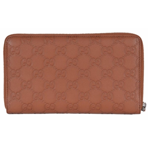 "Gucci 391465 XL GG Guccissima Tan Leather Zip Around Travel Wallet Clutch - 8"" x 4.5"""
