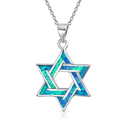 Hanukkah Star Of David Magen Jewish Pendant Blue Created Opal Inlay Necklace For Women 925 Sterling Silver 16 Inch