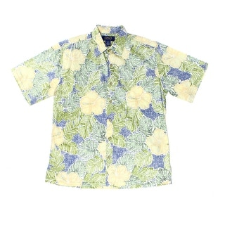 Ono & Company NEW Blue Mens Size Medium M Floral-Print Hawaiian Shirt