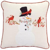 Pack of 2 Decorative Red and White with Trim Snowman with Cardinal Pillow