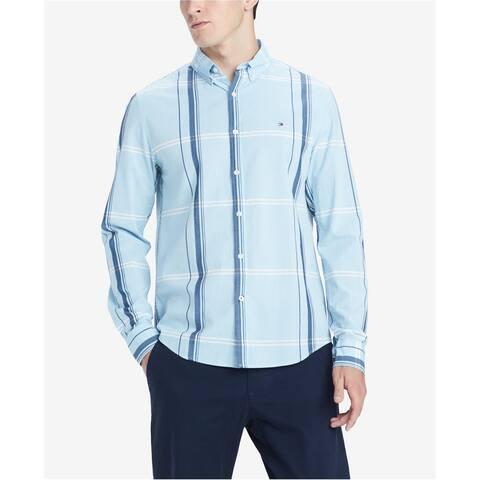 Tommy Hilfiger Mens Morris Button Up Shirt, Blue, X-Large