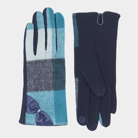 Amtal Women Plaid Check Pattern Smart Gloves