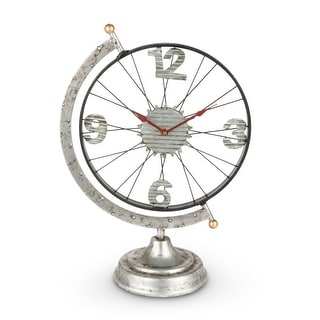 """17.7"""" Black and Red Galvanized Finish Globe Wheel on Stand - N/A"""