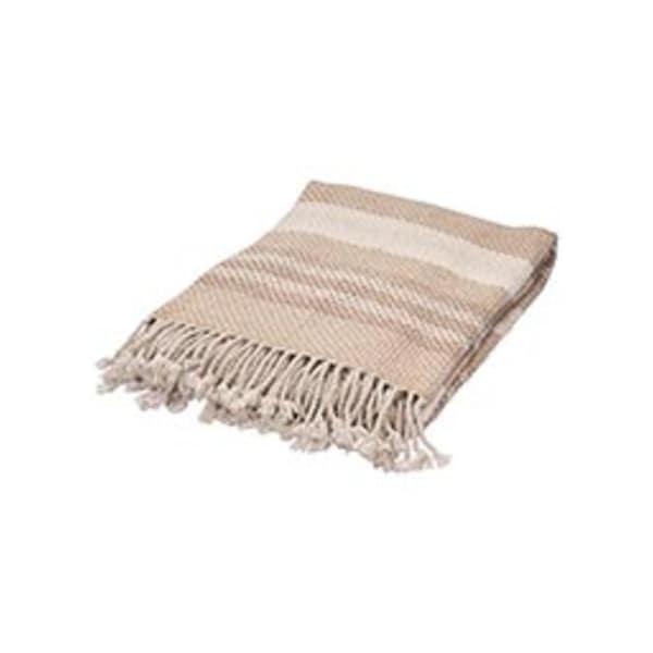 "Beige/Ivory Wool Throw - LOV02 50""x60"""
