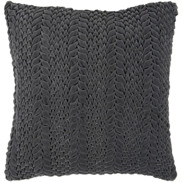 "22"" Pewter Gray Scale Pattern Decorative Down Throw Pillow"