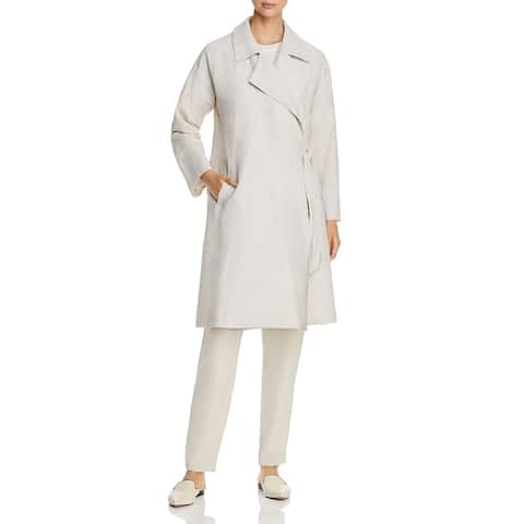 Eileen Fisher Womens Trench Coat Side-Tie Collared - bone
