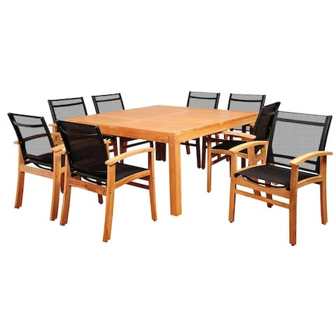 Amazonia Sunset 9-Piece Outdoor Dining Set Teak Square Patio Furniture with Black Sling Chair