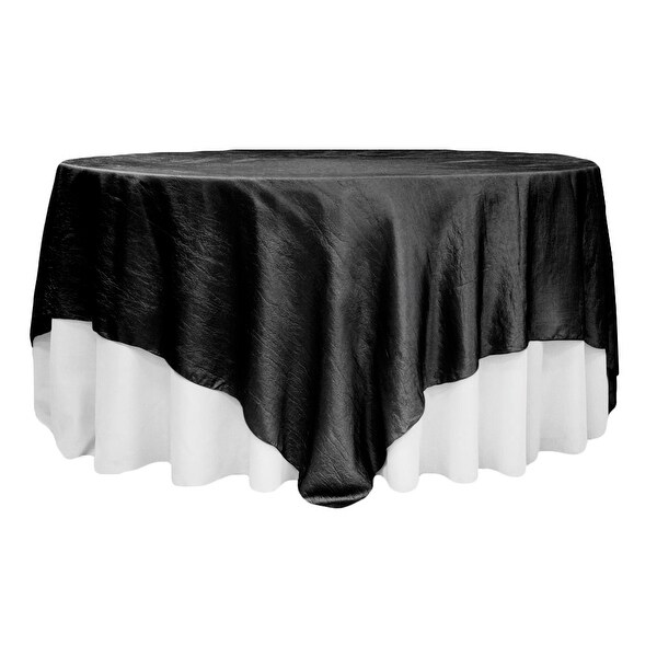 "Crushed Taffeta 90""x90"" Square Table Overlay - Black"