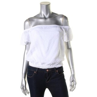 Guess Womens Nikki Knit Top Ruched Off-The-Shoulder - l