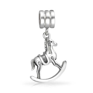 Bling Jewelry Dangle Rocking Horse Charm 925 Sterling Silver Equestrian Animal Bead