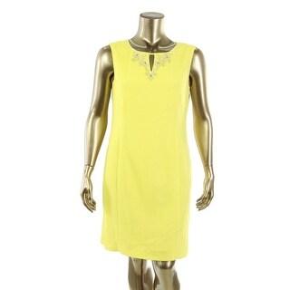 Ellen Tracy Womens Embellished Keyhole Wear to Work Dress
