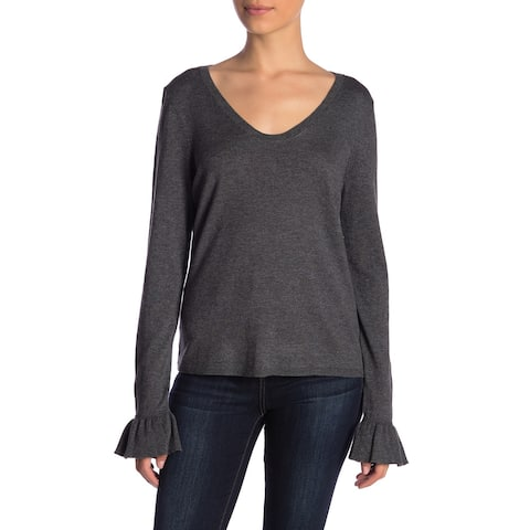 14th & Union Women's Dark Large Ruffled Sleeve Scoop Neck Sweater