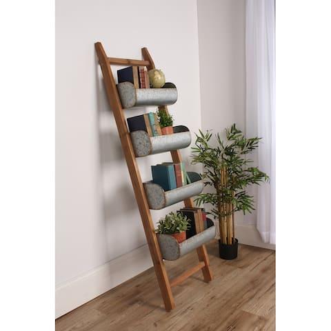 Kate and Laurel Pothos Rustic Blanket Ladder with Storage Bins - 17x64