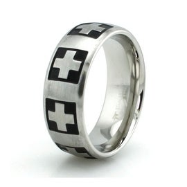 Stainless Steel Swiss Cross Ring