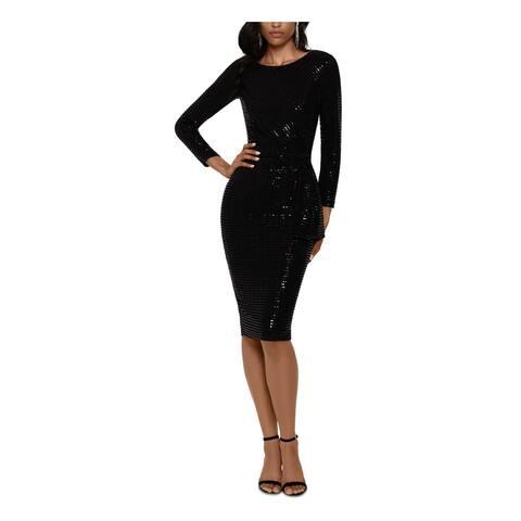 BETSY & ADAM Black 3/4 Sleeve Knee Length Body Con Dress Size 14