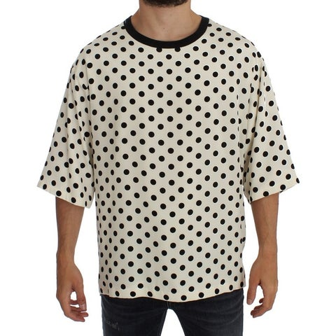 Dolce & Gabbana Dolce & Gabbana White Black Polka Silk Crewneck T-shirt