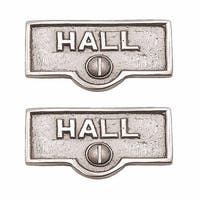 2 Switch Plate Tags HALL Name Signs Labels Chrome Brass | Renovator's Supply