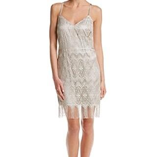 Jessica Simpson NEW Gold Women's Size 12 Sheath Fringe Lace Dress