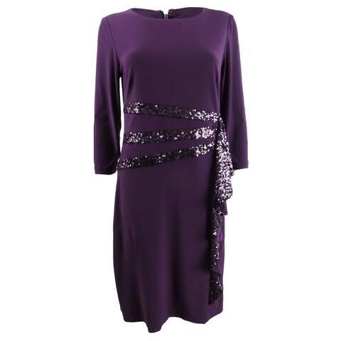 R&M Richards Women's Sequined Ruffle Sheath Dress (6, Plum) - Plum - 6