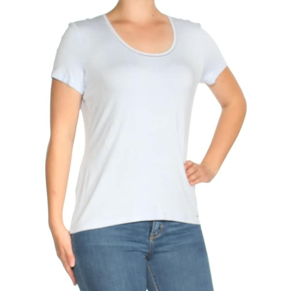 8cb562095 Shop TOMMY HILFIGER Womens Light Blue Short Sleeve Scoop Neck T-Shirt Top  Size: M - Free Shipping On Orders Over $45 - Overstock - 23458089