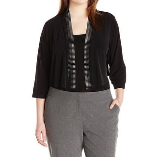 Calvin Klein NEW Black Womens Size 1X Plus Embellished Cardigan Sweater
